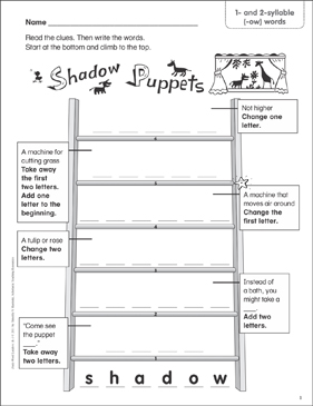 Shadow Puppets (1- and 2-syllable (-ow) words) Word Ladder (K-1) - Printable Worksheet