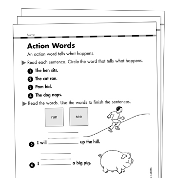 Action Verbs Grade 1 Collection | Printable Leveled Learning ...