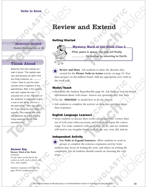 Action Verbs Grade 5 Collection | Printable Leveled Learning