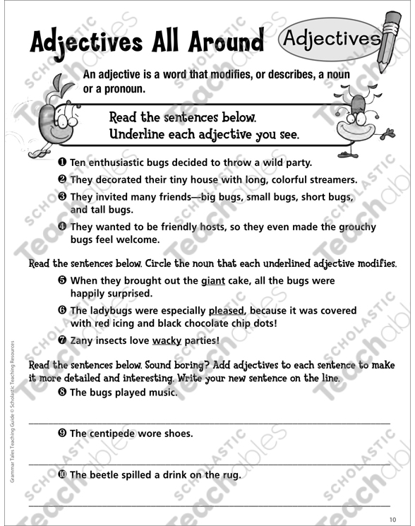 Adjectives Grade 3 Collection Printable Leveled Learning