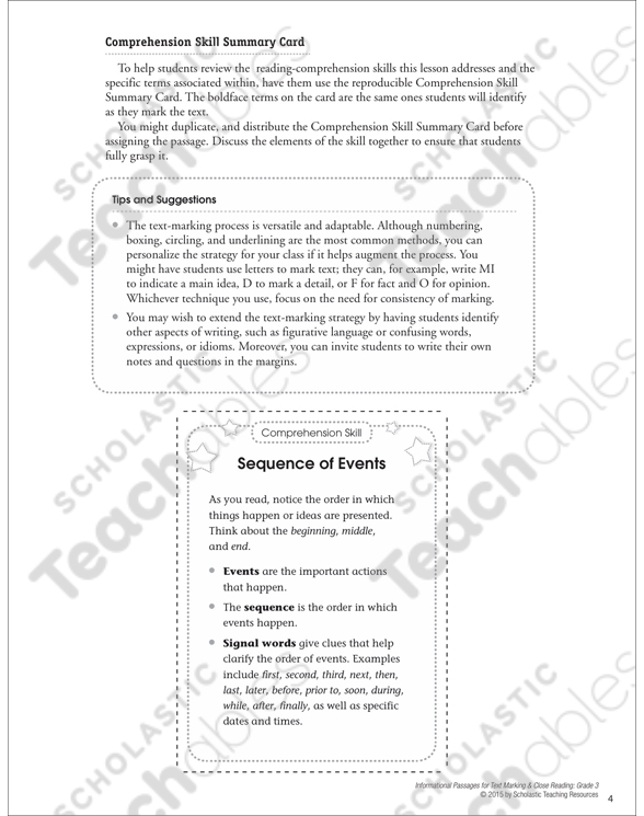 Sequencing Grade 4 Collection Printable Leveled Learning Collections