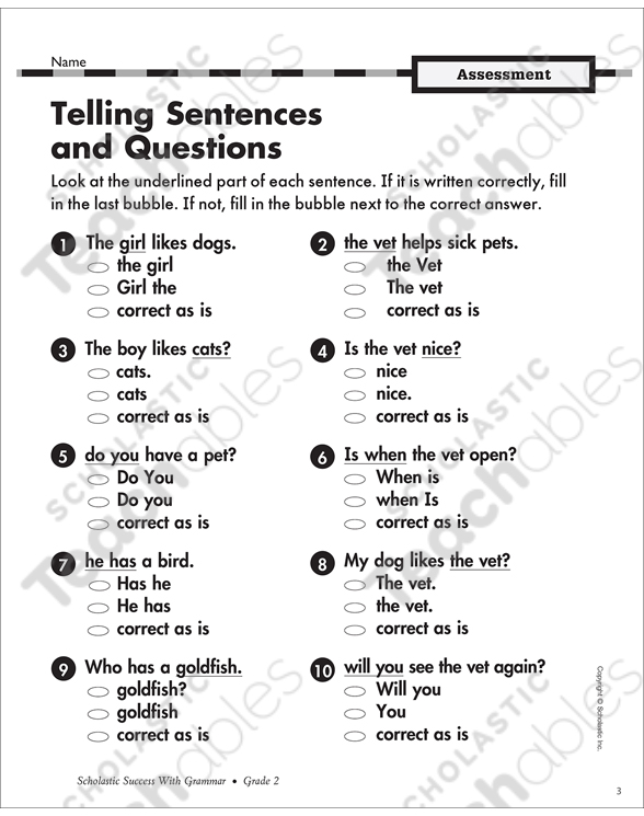 Types of Sentences Grade 1 Collection | Printable Leveled
