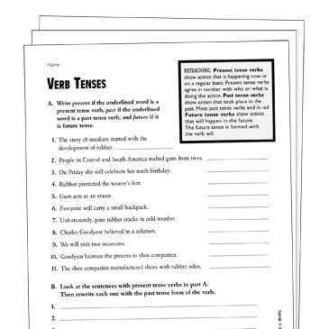 Verb Tenses Grade 4 Collection | Printable Leveled Learning ...