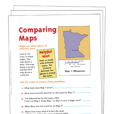 Map Skills Grade 3 Collection Printable Leveled Learning
