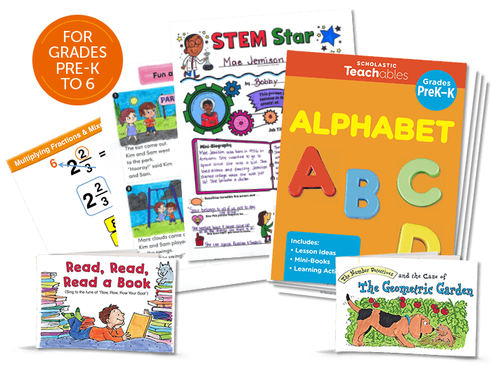 Image of educational resources for reading, writing, science, and early learning.